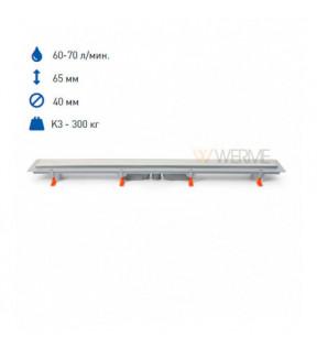 Душовой канал с вертикальным выпуском DN40 матовой решеткой и кромкой из нержавеющей стали